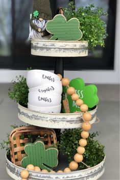 Look gnome farther than A Gnome on the Roam for all your tiered tray gnomes! Look gnome farther than A Gnome on the Roam for all your tiered tray gnomes! St Paddys Day, St Patricks Day, Saint Patricks, Style At Home, Hollywood Regency, Tray Styling, St Patrick's Day Decorations, Holiday Crafts, Holiday Decor