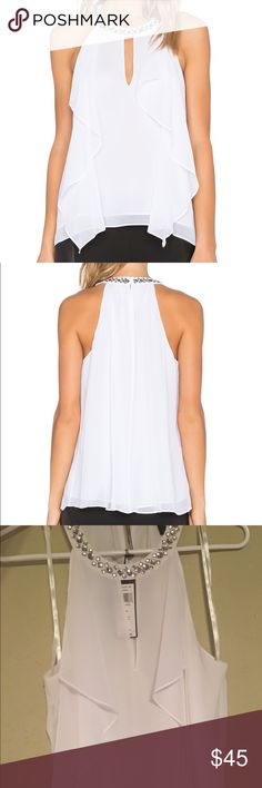"""BCBG Livana Embellished Ruffle Top ** Embellished round neck, sleeveless, keyhole front ** Draped ruffle front, keyhole back, lined ** Approx. 24"""" from back neck to hem ** Polyester; lining: polyester BCBG Tops Blouses"""