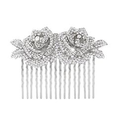 EVER FAITH Wedding SilverTone Flower Floral Clear Austrian Crystal Hair Comb -- Click image to review more details.(This is an Amazon affiliate link)