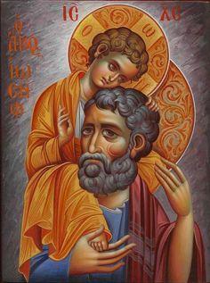 Orthodox Icons written by the hand of Eleni Dadi (Ελένη Ντάση) Religious Pictures, Religious Icons, Religious Art, Byzantine Icons, Byzantine Art, Catholic Art, Catholic Saints, St Joseph, Religion