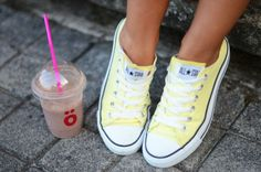 i usually dont like yellow but these pastel yellow converse are pretty cute