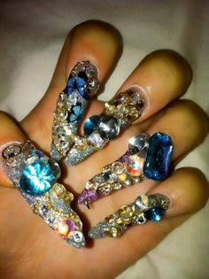 Butterfly themed nails in lovely sapphire, gold, violet, and silver tones. Gold Toe Nails, Black Toe Nails, Gem Nails, Fancy Nails, Stiletto Nails, Acrylic Nails, Nail Gems, Nail Nail, Pretty Nails