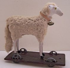Vintage Antique German Putz White Wooly Lamb Sheep Pull Toy on Wheels Toy | eBay  sold   325.00.    ...~♥~