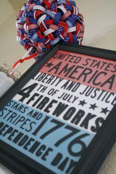DIY Framed of July Subway Art~love the ribbon topiary Patriotic Crafts, Patriotic Party, July Crafts, Holiday Crafts, Holiday Fun, Holiday Decor, Holiday Ideas, Ribbon Topiary, Happy Birthday America