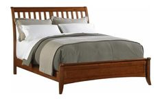 Modern Shaker Slat Sleigh Bed in Cherry Finish