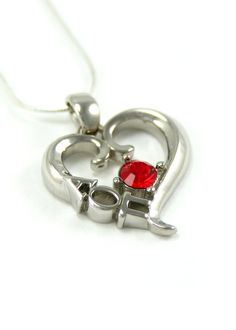 Alpha Omicron Pi Sterling Silver Heart Pendant set with a Swarovski Red Crystal. Or this with the red!
