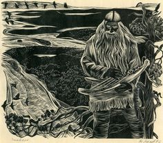 The National Epic of Finland illustrated by Akseli Gallen Kallela Human Life Cycle, Meet Santa, Baby Witch, High Fantasy, Monochrom, Classical Art, Book Illustration, Illustrations, Linocut Prints