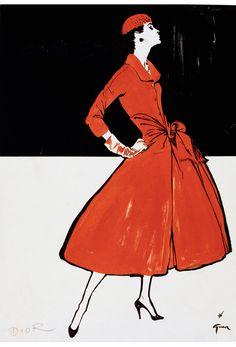 Réne Gruau Untitled, 1955 Fashion from Dior Published in International Textiles