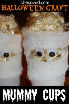 These fun Mummy Cups are so easy to make and make great Halloween Treat holders!