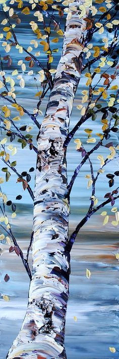 Birch Tree Art, Acrylic Art, Art Techniques, Nature Pictures, Landscape Art, Painting Inspiration, Painting & Drawing, Watercolor Art, Maya