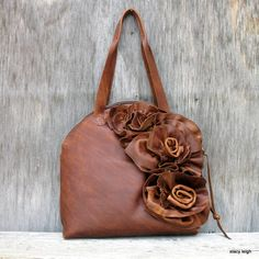 Distressed Brown Leather Bowler Bag with Natural Edge Flowers by Stacy Leigh