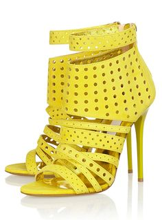 49b124e2abf Awesome Yellow Sandals Stiletto Heels Hollow-out Open Toe 5 Inch Heels   shoes