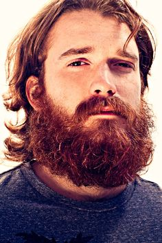 <3 so handsome! <3 who is this guy??  very full thick dark red beard and mustache beards bearded man men long hair bushy redhead ginger nice eyes #beardsforever