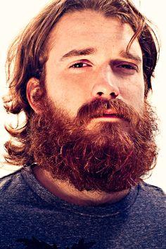 <3 so handsome! <3 who is this guy??  very full thick dark red beard and mustache beards bearded man men long hair bushy redhead ginger nice eyes #beardsforever