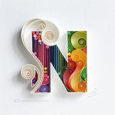 Letter N/Quilling wall paper art/Custom/paper art N Neli Quilling, Quilled Roses, Quilling Work, Paper Quilling Flowers, Paper Quilling Patterns, Quilling Paper Craft, Paper Flowers Diy, Paper Crafts, Diy Paper