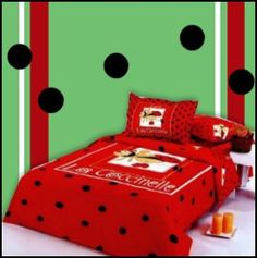 ladybug theme bedroom girls bedroom - ladybug wall mural stickers - ladybug decorations - ladybug bedding - lady bug room decor - flower decor for girls garden theme bedrooms - ladybug bedroom ideas