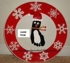 Handprint and Footprint Art : Christmas Footprint Penguin Plate