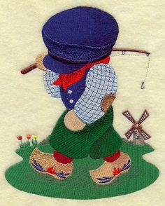 ** Fisherman Fred in The Netherlands Block Of The Month Pattern Used As Applique Quilt @emlibrary