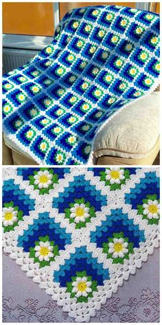 Spectacular daisies in the corner of granny square - Mitered Daisy Granny Squares Blanket or Afghan [Free Crochet Pattern & Video Tutorial]. Excelent for baby blanket. pattern Mitered Daisy Granny Squares Blanket Free Crochet Pattern and Video Tutorial Baby Afghan Patterns, Granny Square Crochet Pattern, Crochet Squares, Crochet Blanket Patterns, Baby Blanket Crochet, Crochet Blankets, Baby Blankets, Knitting Patterns, Granny Square Tutorial