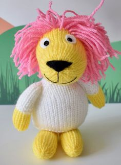 Free Knitting Pattern for Lionel the Lion - Designed by the amazing Amanda Berry, this lion softie toyis approximately 24cm tall.All pieces are knitted flat except for the tail.