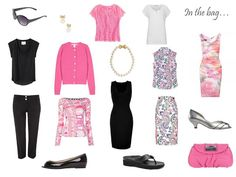 A 10 piece travel capsule wardrobe in pink, black and white, for a warm weather romantic vacation