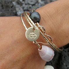 OM Symbol Bangle, Gold Hammered Bracelet, Yoga Jewelry, Hand Stamped Jewelry, Charm Bracelet