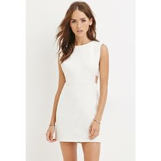 Forever 21 Women's Cutout Bodycon Dress ($28) ❤ liked on Polyvore featuring dresses, body con dress, cut out dress, bodycon cocktail dress, white bodycon dress and white mini dress