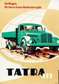 MOTOKOV Poster TATRA 111 (1955) Poster in A1 for the exporter MOTOKOV.  Photo courtesy of The Museum of Decorative Arts in Prague