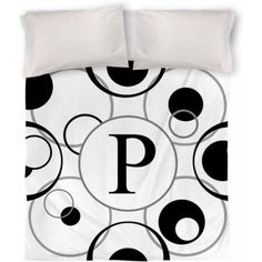 Thumbprintz Circle Variations Monogram Black and White Duvet Cover