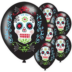 New Halloween day of The Dead Latex balloons X6pk #Amscam #Halloween