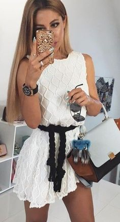 #summer #flawless #outfitideas |  White Lace Dress