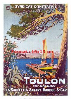 Toulon Landscapes Art Print - 50 x 70 cm Sailing Pictures, Tourism Poster, Beach Posters, Railway Posters, Vintage Landscape, Visit France, Illustrations And Posters, Art Posters, Vintage Travel Posters