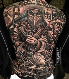 Detailed Unique Back Tattoo Design tattoo designs ideas männer männer ideen old school quotes sketches Chicano Tattoos Gangsters, Lettrage Chicano, Chicano Style Tattoo, Gangster Tattoos, Tattoos For Guys Badass, Back Tattoos For Guys, Dope Tattoos, Leg Tattoos, Body Art Tattoos