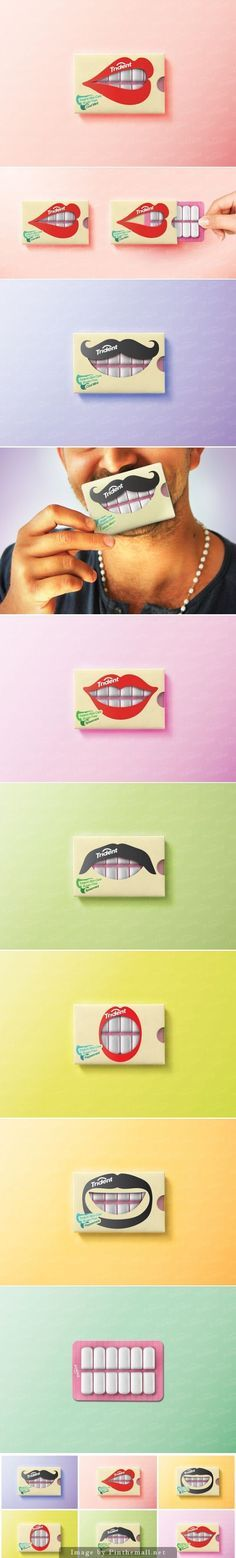 Clever packaging for Trident chewing gum.