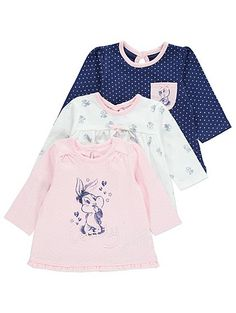 Add some pretty prints into your baby's wardrobe with these gorgeous Baby Bugs print tops. The slogan sleeve designs feature embroidered detailing and ruffle...
