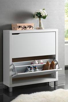 Simms Modern 2 Drawer Shoe Cabinet - White