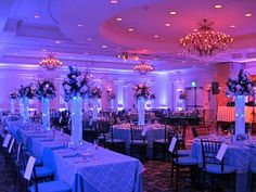 LED lights and gel beads lit the centerpieces in an icy blue tone.