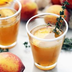 The perfect use for overripe peaches- smash them with a little honey, thyme and bourbon for this perfect mid summer cocktail.
