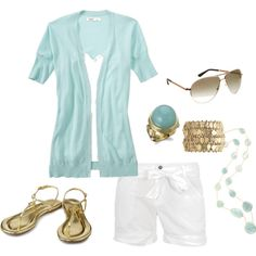 Summer | White Shorts | Aqua+Gold