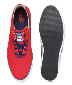 Puma Men Red Stylish Canvas Shoes