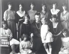 Queen Olga of Greece and her granddaughters: Back row: Princess Elisabeth of Greece, Princess Xenia of Russia, Princess Theodora of Greec.