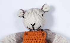Albie the knitted mouse soft toy wearing orange by handylittleme