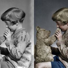 Colorization of the real Christopher Robin, the son Alan Milne photographed in 1928 with the bear that inspired the stories of Winnie-the-Pooh.    See history come to life by following @my_colorful_past    #winniethepooh #adventure #toys #childhood #bear #storybook #artsofinstagram #art #madewithwacom #mobilestudiopro
