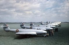 By the time this photo was taken at Horsham St. Faith, RAF fighters had their camouflage replaced by a silver high speed finish as sported by this line up of 263 Sqn. Air Force Aircraft, Navy Aircraft, Ww2 Aircraft, Military Jets, Military Aircraft, Gloster Meteor, Avro Vulcan, Uss Nimitz, Aircraft Design