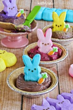 Peeps Pudding S'mores Pies Recipe- cute and easy for Easter!