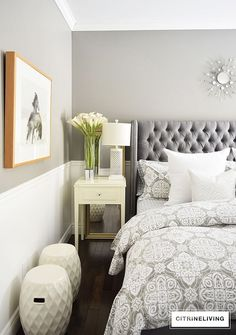 CITRINELIVING CREATE A CURATED BEDROOM - create this look with layers of texture and pattern. Tone on tone greys create a calm and serene palette.