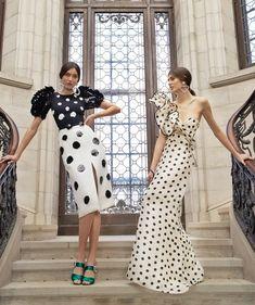 Pleated Dot Midi Dress by Carolina Herrera and Valley Of The Kings Silk Organza Dress by Johanna Ortiz Fall Winter 2018