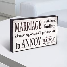 Marriage Annoy Plaque: A beautiful 25cm x 16cm Funny and Popular Wooden Marriage Wall Sign, add this sign to your order and watch them smile!