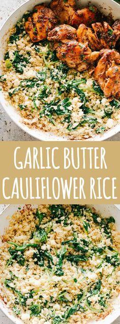 Garlic Butter Cauliflower Rice with Spinach - Easy, crunchy, incredibly flavorfu. - Garlic Butter Cauliflower Rice with Spinach – Easy, crunchy, incredibly flavorful Garlic Butter C - Keto Side Dishes, Veggie Dishes, Side Dish Recipes, Food Dishes, Vegetarian Recipes, Cooking Recipes, Healthy Recipes With Spinach, Simple Healthy Dinner Recipes, Healthy Drinks