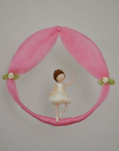 Girls Mobile needle felted room decoration : by MagicWool on Etsy